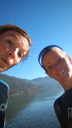 Liz Lyles and me after a nice, but quite chilly, swim in Lake Tahoe.