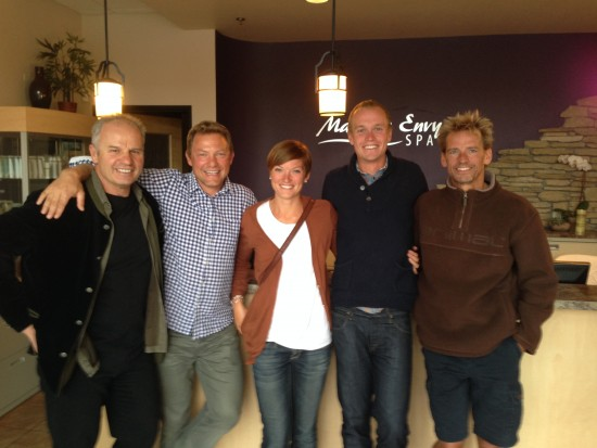 Post-massage handout with Franz Weber, Klaus Grimm, Filip and coach Jens. Thank you Klaus and Franz for everything you do for me!