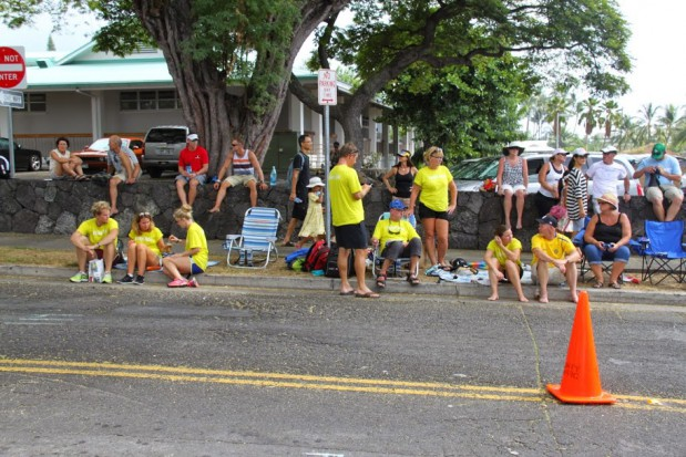 My supporter team waiting for me to return to Kona